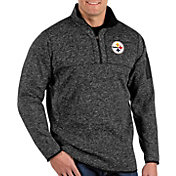Antigua Men's Pittsburgh Steelers Fortune Black Pullover Jacket