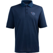 Antigua Men's Tennessee Titans Pique Xtra-Lite Navy Polo