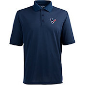Antigua Men's Houston Texans Pique Xtra-Lite Navy Polo