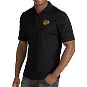 Antigua Men's Chicago Blackhawks Inspire Black Polo