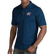 Antigua Men's Columbus Blue Jackets Inspire Navy Polo