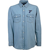 Antigua Men's St. Louis Blues Chambray Button-Up Shirt