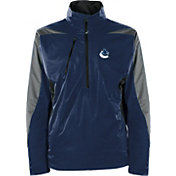 Antigua Men's Vancouver Canucks Discover Navy Half-Zip Pullover Jacket