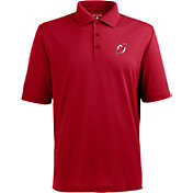 Antigua Men's New Jersey Devils Red Xtra-Lite Pique Performance Polo