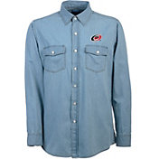 Antigua Men's Carolina Hurricanes Chambray Button-Up Shirt