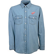 Antigua Men's Detroit Red Wings Chambray Button-Up Shirt