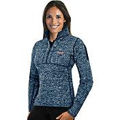 Antigua Women's Atlanta Braves Navy Fortune Half-Zip Pullover