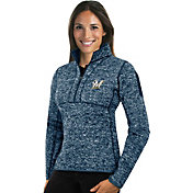Antigua Women's Milwaukee Brewers Navy Fortune Half-Zip Pullover