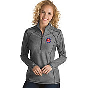 Antigua Women's Chicago Cubs Grey Tempo Quarter-Zip Pullover