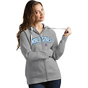 Antigua Women's 2016 World Series Champions Chicago Cubs Grey Victory Full-Zip Hoodie