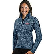 Antigua Women's Cleveland Indians Navy Fortune Half-Zip Pullover