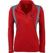 Antigua Women's Cleveland Indians Delta Red Quarter-Zip Pullover