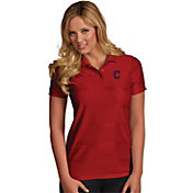 Antigua Women's Cleveland Indians Illusion Red Striped Performance Polo