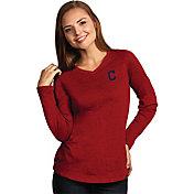 Antigua Women's Cleveland Indians Flip Red Long Sleeve V-Neck Shirt