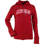 Antigua Women's Los Angeles Angels Dark Red Signature Full-Zip Fleece Hoodie