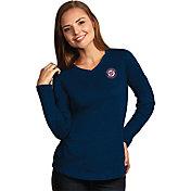 Antigua Women's Washington Nationals Flip Navy Long Sleeve V-Neck Shirt