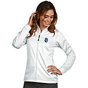 Antigua Women's San Diego Padres Full-Zip White Golf Jacket