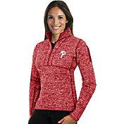 Antigua Women's Philadelphia Phillies Red Fortune Half-Zip Pullover