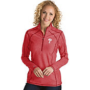 Antigua Women's Philadelphia Phillies Red Tempo Quarter-Zip Pullover