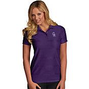 Antigua Women's Colorado Rockies Illusion Purple Striped Performance Polo