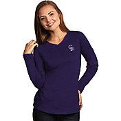 Antigua Women's Colorado Rockies Flip Purple Long Sleeve V-Neck Shirt