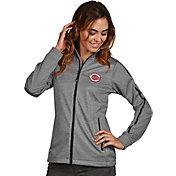 Antigua Women's Cincinnati Reds Grey Golf Jacket