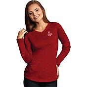 Antigua Women's Boston Red Sox Flip Red Long Sleeve V-Neck Shirt