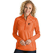 Antigua Women's Baltimore Orioles Orange Tempo Quarter-Zip Pullover