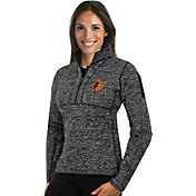 Antigua Women's Baltimore Orioles Grey Fortune Half-Zip Pullover