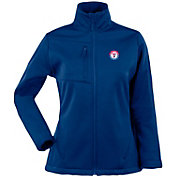 Antigua Women's Texas Rangers Traverse Soft Shell Full-Zip Dark Royal Jacket