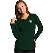 Antigua Women's Oakland Athletics Flip Green Long Sleeve V-Neck Shirt