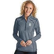 Antigua Women's Detroit Tigers Navy Tempo Quarter-Zip Pullover