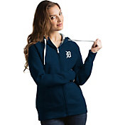 Antigua Women's Detroit Tigers Navy Victory Full-Zip Hoodie