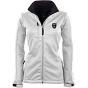 Antigua Women's San Jose Earthquakes Traverse White Soft-Shell Full-Zip Jacket