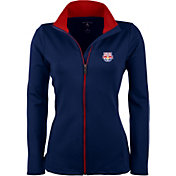 Antigua Women's New York Red Bulls Navy Leader Full-Zip Jacket