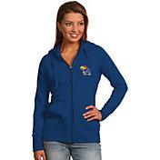 Antigua Women's Kansas Jayhawks Blue Full-Zip Hoodie