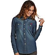 Antigua Women's Arkansas Razorbacks Long Sleeve Button Up Chambray Shirt