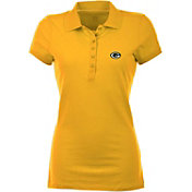 Antigua Women's Green Bay Packers Gold Spark Polo