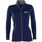 Antigua Women's Seattle Seahawks Leader Navy Full-Zip Jacket