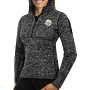 Antigua Women's Pittsburgh Steelers Fortune Black Pullover Jacket