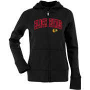 Antigua Women's Chicago Blackhawks Black Signature Full-Zip Fleece Hoodie