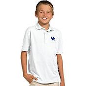 Antigua Youth Kentucky Wildcats White X-tra Lite Pique Polo
