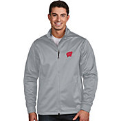 Antigua Men's Wisconsin Badgers Silver Performance Golf Jacket