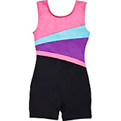 Jacques Moret Girls' Spotted Strokes Colorblocked Biketard