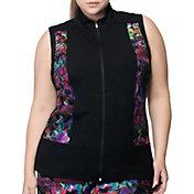 Rainbeau Curves Women's Plus Size Carrie Print Zip Up Vest