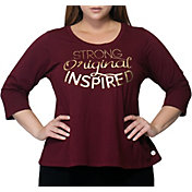 "Rainbeau Curves Women's Plus Size ""I AM"" Cyndi Graphic Three Quarter Length Sleeve Shirt"