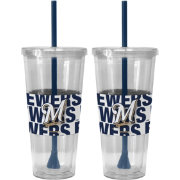 Boelter Milwaukee Brewers Bold Sleeved 22oz Straw Tumbler 2-Pack