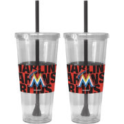 Boelter Miami Marlins Bold Sleeved 22oz Straw Tumbler 2-Pack