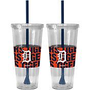 Boelter Detroit Tigers Bold Sleeved 22oz Straw Tumbler 2-Pack