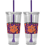 Boelter Clemson Tigers Bold Sleeved 22oz Straw Tumbler 2-Pack